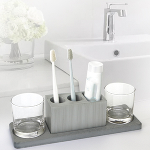 Image 3 - Cement bathroom mold toothbrush holder soap tray cotton swab box Hotel multifunctional concrete gypsum diatom mud silicone mo