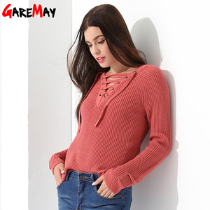 Sweater Women Pullover Long Sleeve Knitted jumper Sexy Tops Winter Women's Sweaters Knitwear Pull Femme Hiver 2019 GAREMAY