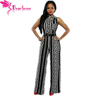 Dear-Lover Wide Leg Jumpsuit Overalls 2016 Long Trousers Outfits Fashion Women Black Print Gold Belted Ladies Playsuits LC64021