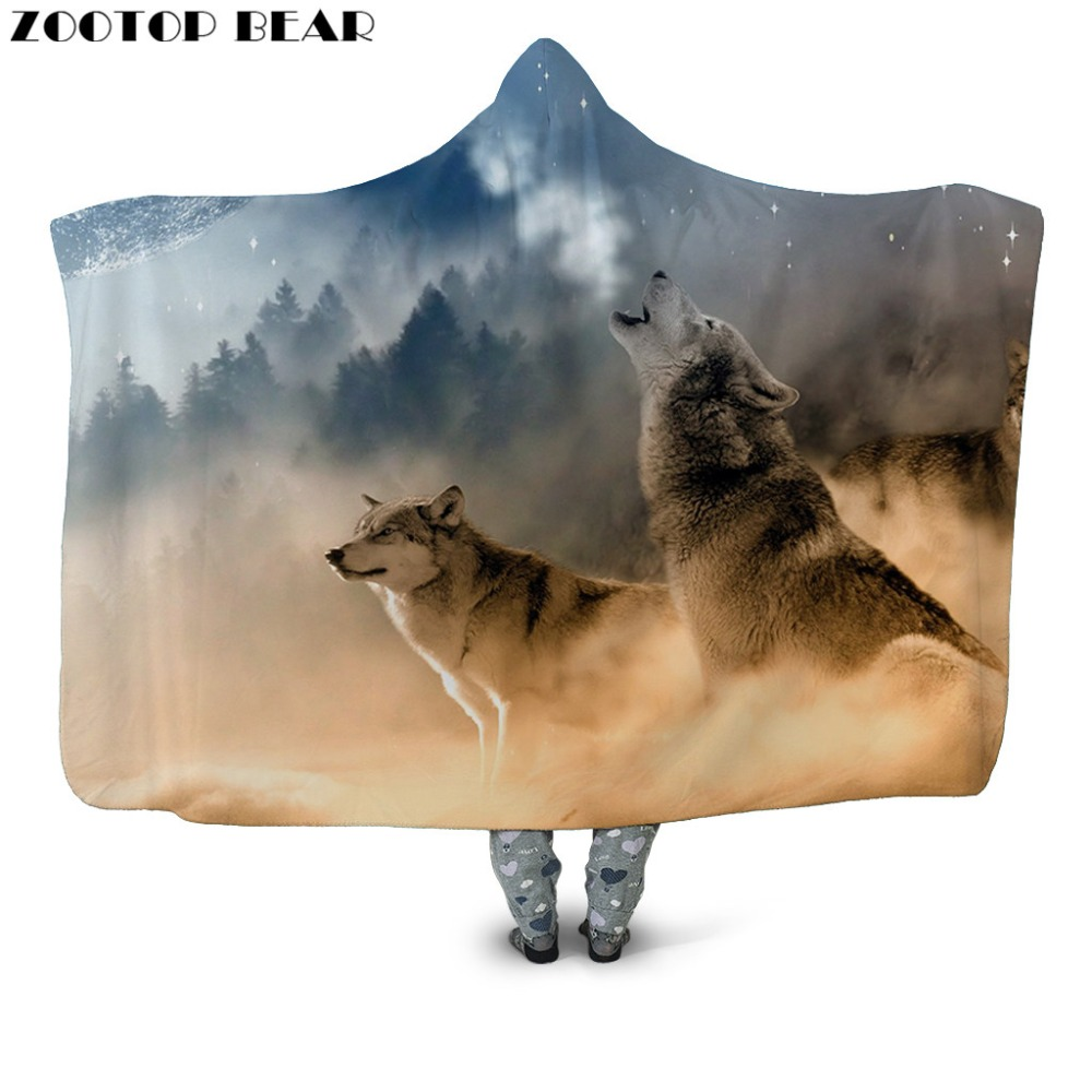 Wolves Hooded Blanket Adults Popular Fashion 3D Printed Plush Warm Sherpa Portable Soft Plush Bedding Office Quilts Wearable