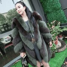 S-3XL plus size Winter New fashion brand Fake fox fur jacket women's warm stitching thicker Faux fur coat wj987 free shipping