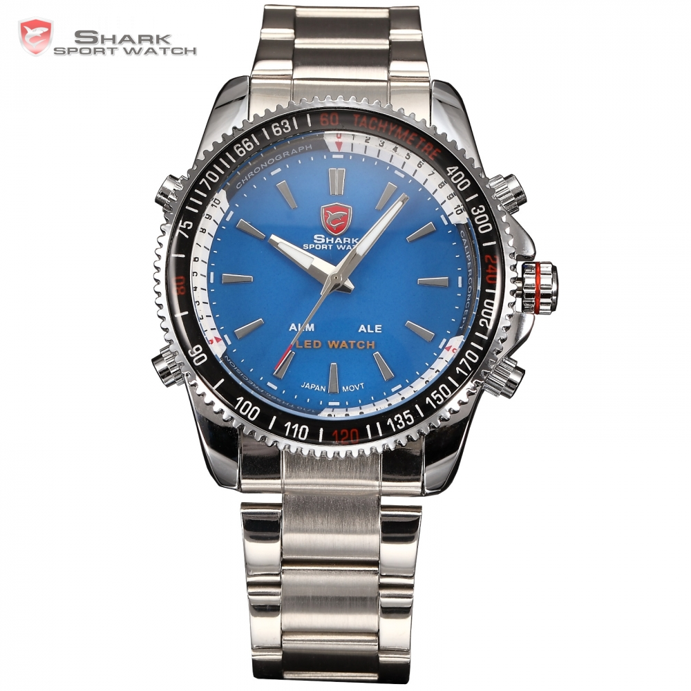 New Luxury Dual Time LED Alarm Stainless Steel Strap Blue Reloj Male Military Shark Sport Watch Men Digital Quartz-Watch / SH002 new shark sport watch dual time date silicone strap back light quartz wrist men military outdoor hours digital timepiece sh041