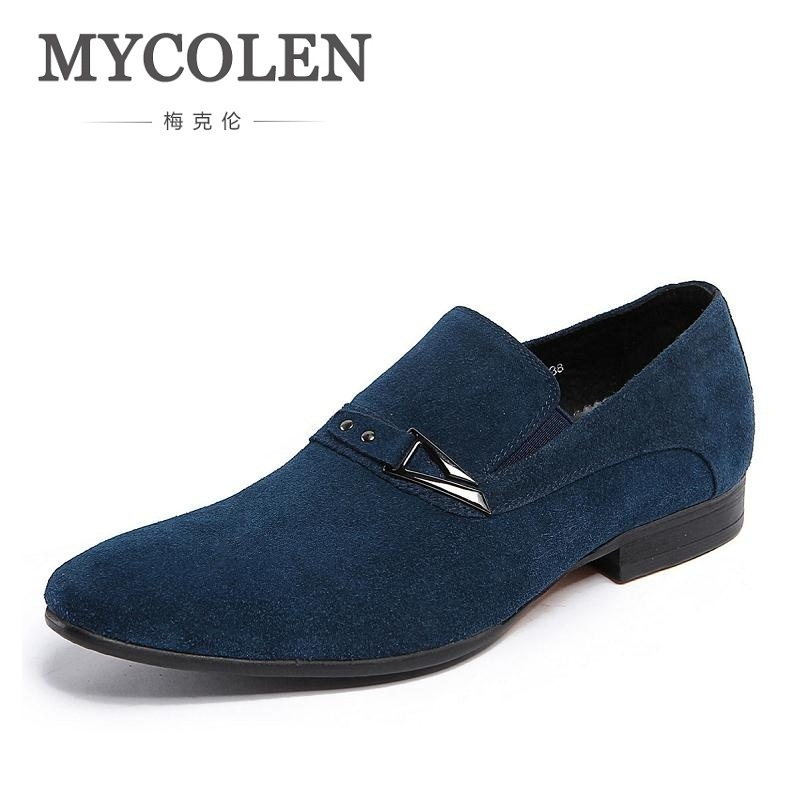 MYCOLEN 2018 New Arrival Leather Shoes Men Classic Round Toe Slip-On Shoe Evening Party Wedding Men Flat Sapatos De Casamento new arrival gold wedding shoes for men large size patent leather mens loafers square toe slip on party and banquet shoe flats