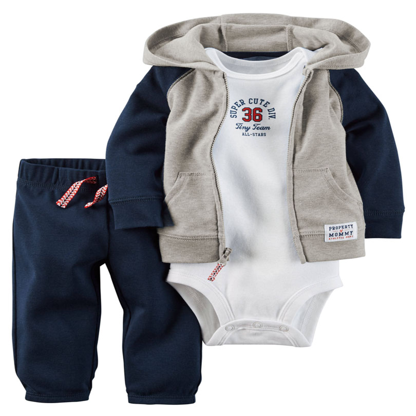 2016 bebe original bebes baby boy clothes set hooded cardigan set crankcase baby spring autumn clothing set retail