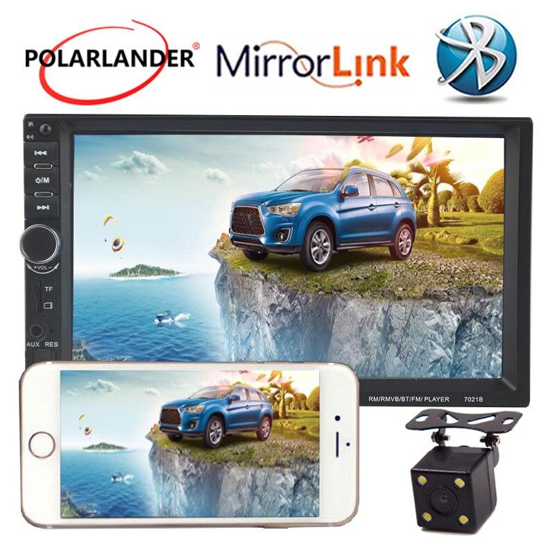 Rétroviseur caméra arrière MP5 lecteur 7 pouces autoradio lien écran tactile Bluetooth 2 Din miroir pour téléphone Android
