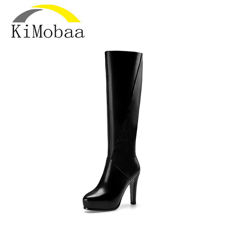 Kimobaa Genuine Leather Women Boots High Heel Round Toe Platform Knee Boots Cow Leather Shoes Winter Elegant Lady Shoes TX01 genuine cow leather spring shoes wedges soft outsole womens casual platform shoes high heel round toe handmade shoes for women