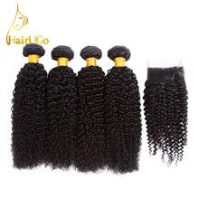 Hair Hair Hair Pre-farvet Kinky Curly 4 Bundle med Closure Human Hair Bundles Med Closure Peruvian Hair Non-Remy