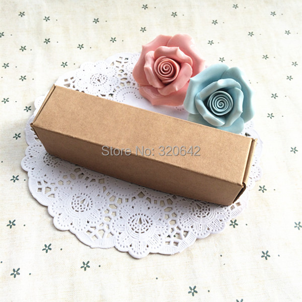 50pcs12.3*3.2*3cm free shipping blank brown kraft necklace/jewelry gift paper boxes,plane box Handmade soap paper packing box