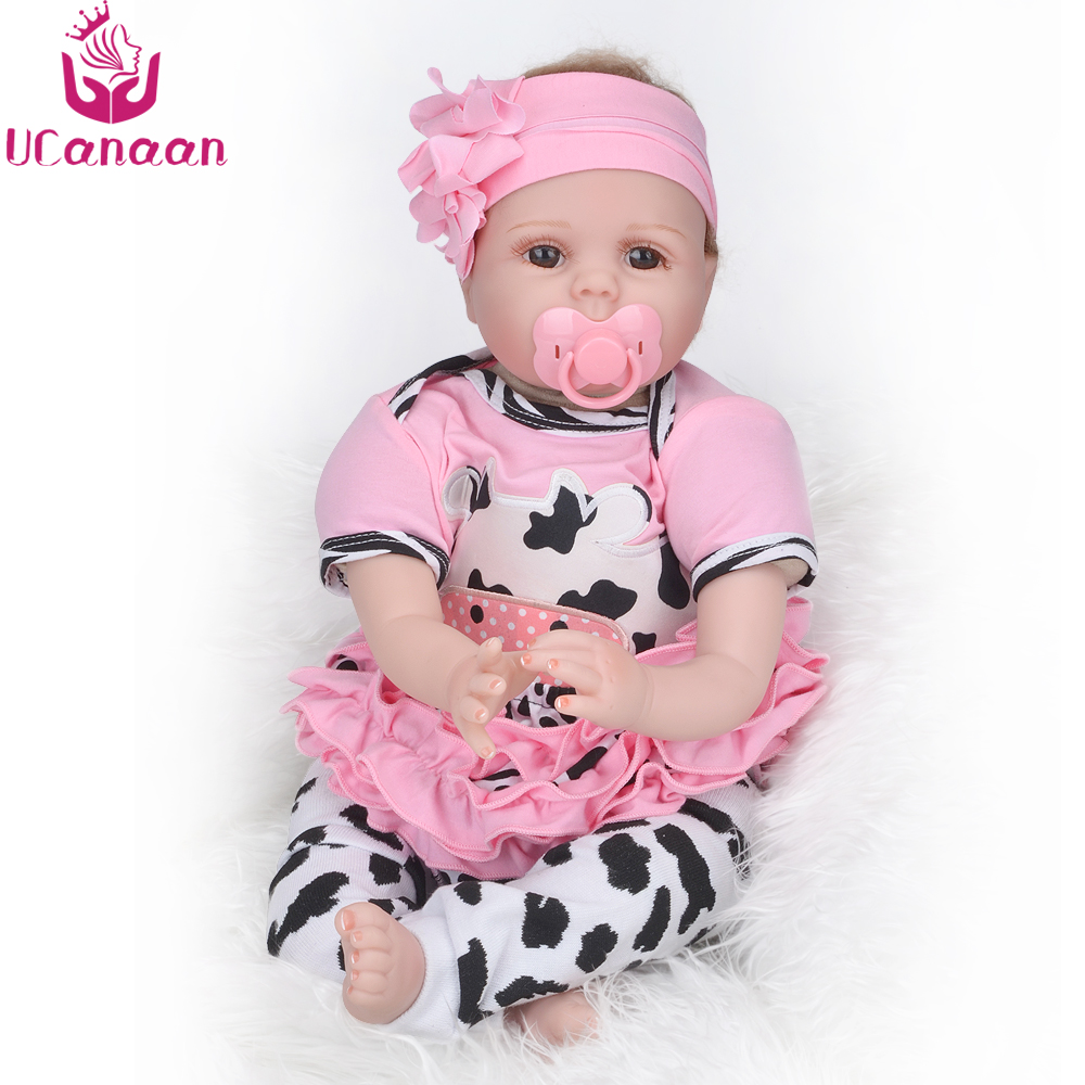 UCanaan 55CM Hair Rooted Cloth Body Reborn Doll Soft Silicone Brown Eyes Toys For Girls Baby Alive New Born Kawaii Kids Toys ucanaan 55cm hair rooted cloth body reborn doll soft silicone brown eyes toys for girls baby alive new born kawaii kids toys