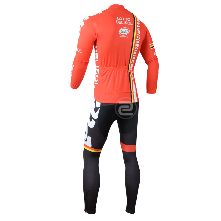 2014 lotto belisol team Winter Thermal fleece Cycling Jersey long sleeve   tight pants gel pad  bike clothing  ropa ciclismo -in Cycling Jerseys from  Sports ... 02bb0d3f8