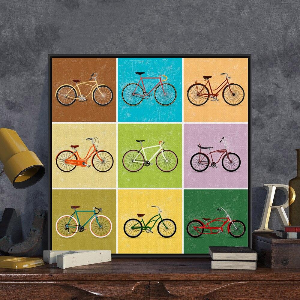 Modern Minimalist Travel Vintage Retro Bike Bicycle A4 Art Print ...