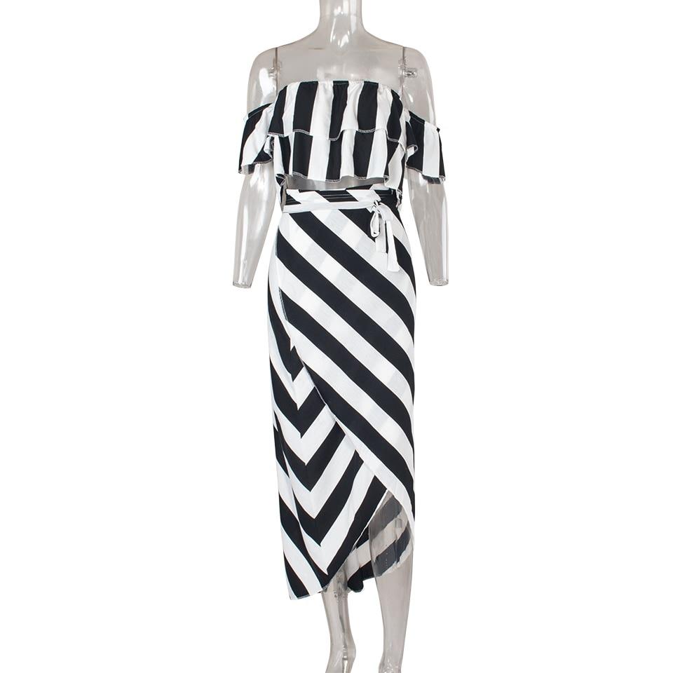 Sedrinuo Cascading Ruffle Striped off Shoulder Sleeveless Beach Wear Two Piece Summer Dress 2018 Casual Bodycon Beach Dresses 4