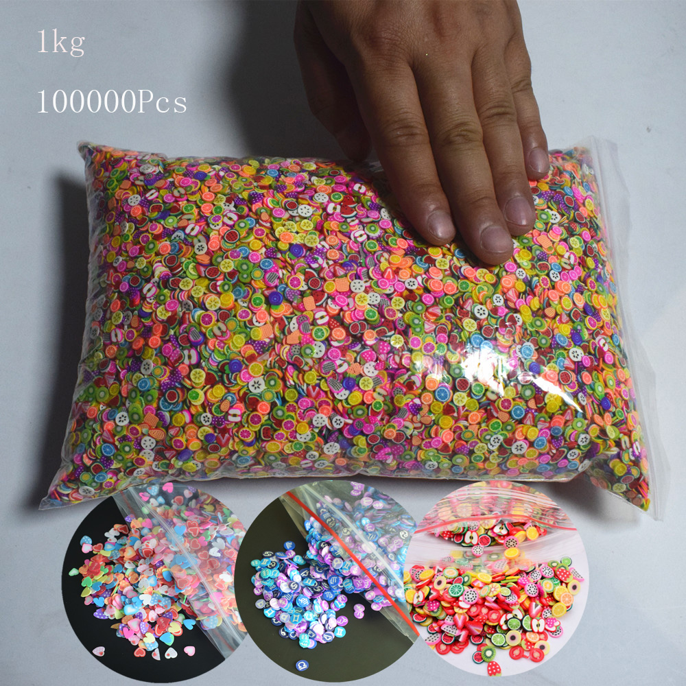 1kg 100000Pc 3D Polymer Clay Tiny Fimo Strawberry Fruit Slices Smile Love Heart DIY Nail Art