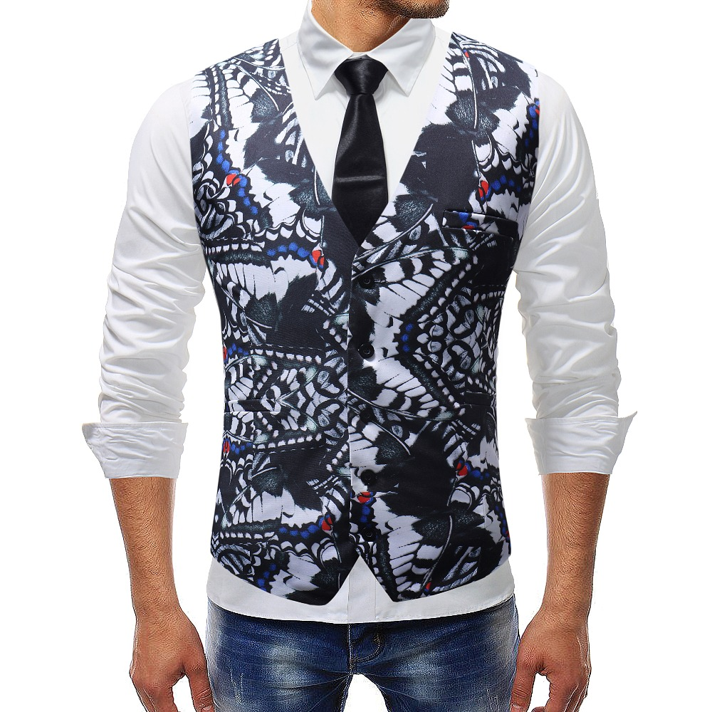 2018 New Fashion Design Mesn Suit Vest 3D Floral Printed Mens Sleeveless Jacket Waistcoat Slim Fitness Formal Dress Plus Size