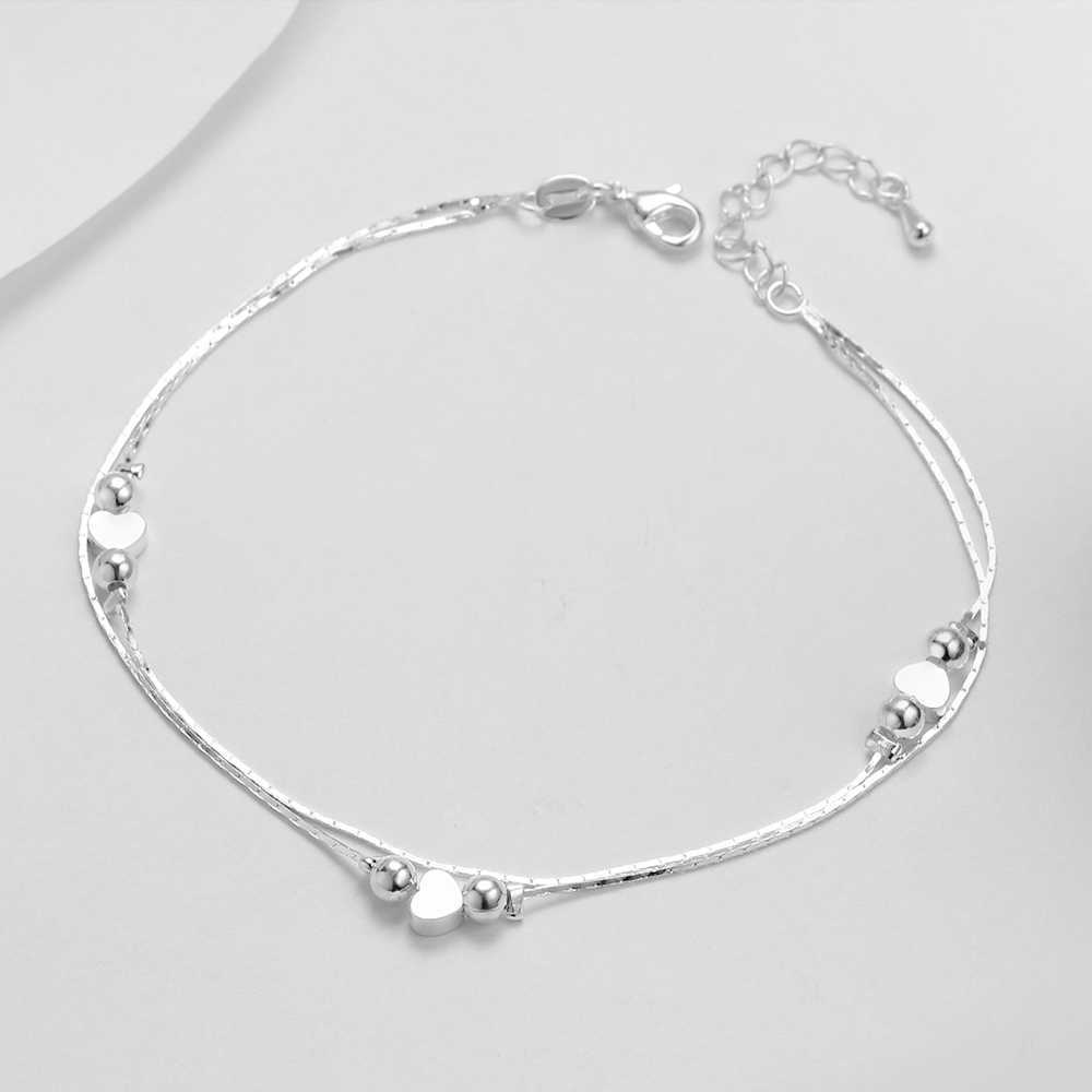 HOT Heart Anklet 925 Sterling Silver Women Girl Lover Barefoot Anklet Fashion Foot Chain Jewelry