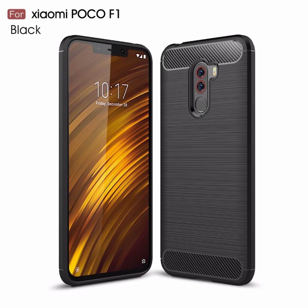 For Xiaomi Pocophone F1 Case Carbon Fiber Shockproof TPU Back Cover Case for Xiaomi Pocophone F1 Poco F1 Case Silicone Cover in Half wrapped Cases from Cellphones Telecommunications