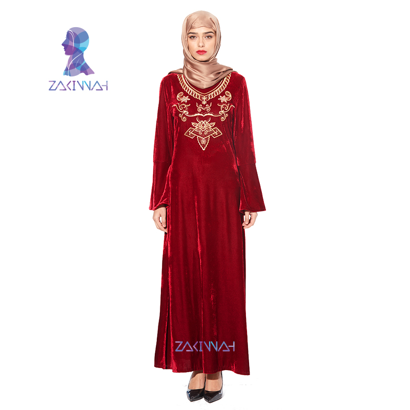 501a7992c70 Zakiyyah New Fashion Plus Size Islamic Muslim Abaya Women Maxi Long Sleeve Dress  kaftan dubai Dress malaysia