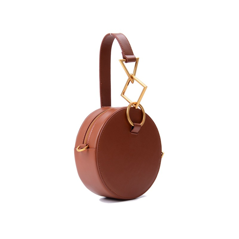 Round Bag New Geometry Five Metal Leather Handbag Retro Saddle Bag Cow Leather Fashion Ladies Bag Trend Design High-quality