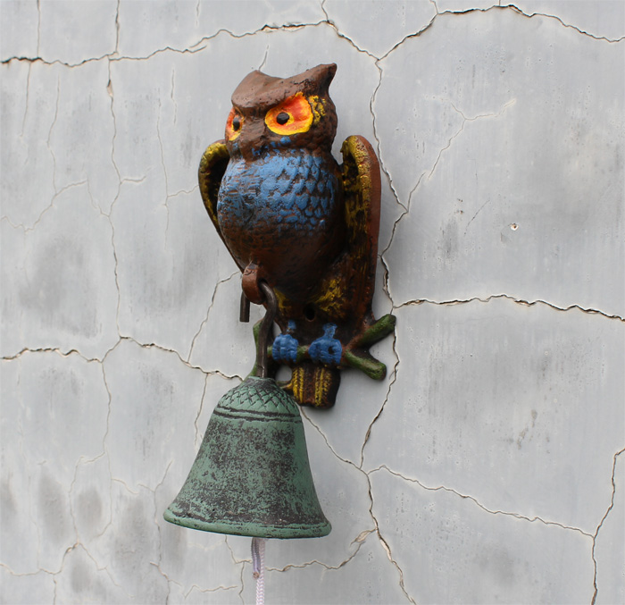 Dunxdeco Home Decoration Accessories Antique Vintage Rustic Colorful Owl Figurines Iron Welcome Door Casting Garden Decor In Miniatures From