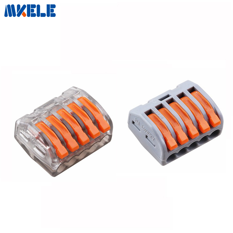 5pcs wago 222 415 pct215 universal compact wire wiring connector 5 pin conductor terminal block. Black Bedroom Furniture Sets. Home Design Ideas