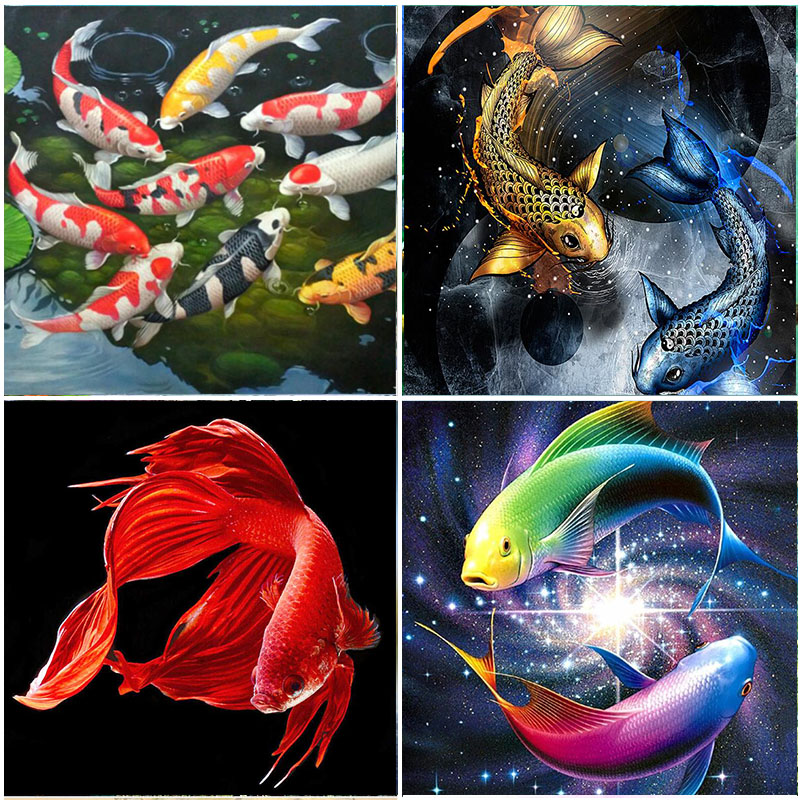 Diamond Embroidery Fish Colorful Koi Picture Mosaic Wall Painting Animals Full Square Drill Kits Home Decorations Cross Stitch