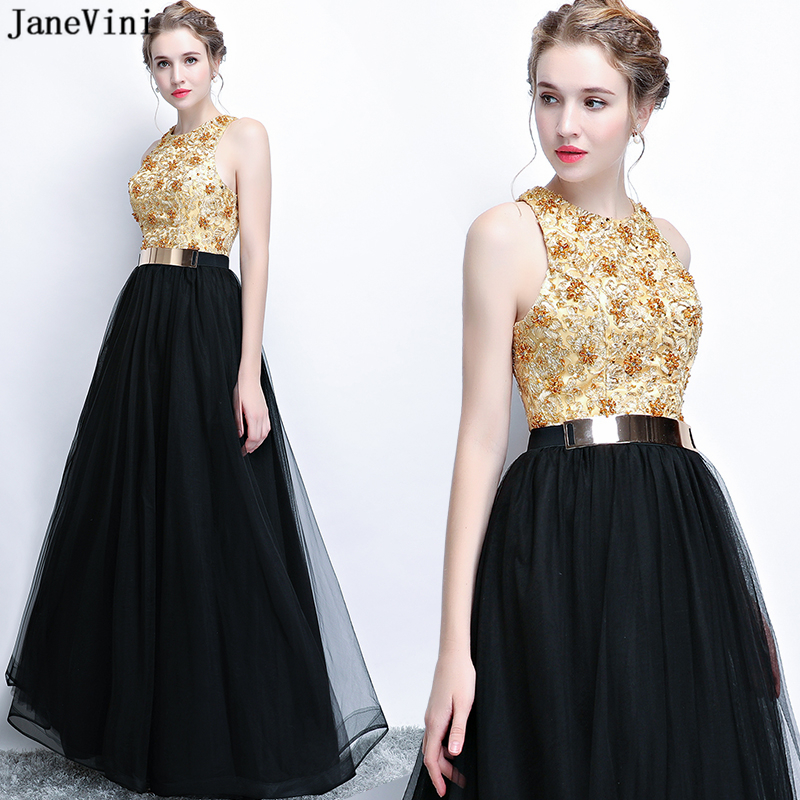 JaneVini Elegant Black Long   Bridesmaid     Dresses   with Gold Sashes A Line Sleeveless Beaded Tulle Floor Length Formal Prom Gowns