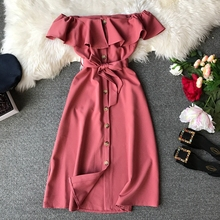 Short Sleeve Off Shoulder Casual Dress