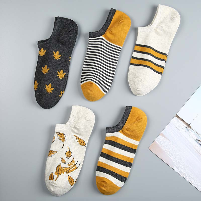 5pairs/lot Women Socks Print Harajuku Street Style Cotton Short Socks Female Casual Funny Ankle Yellow Socks Sox Summer 2019