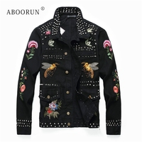 ABOORUN Flower Embroidery Denim Jackets Men's Punk Rivets Pleated Jeans Jackets Singers Dancers Jackets x1547