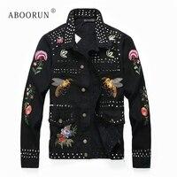 ABOORUN Flower Embroidery Denim Jackets Men's Punk Rivets Pleated Jeans Jackets Singers Dancers Jackets x1547