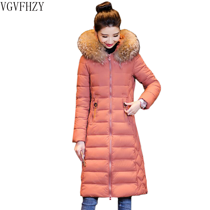 Winter Jacket Women 2018 Fashion Winter Coat Women Fake Fur collar Hooded Down Jacket Women Long   Parkas   Warm Female outerwear