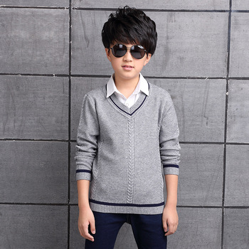 2017 Children's sweater Winter new  Keep warm Cashmere boy sweater V-collar Kids for boys Children's clothing Winter clothing 2