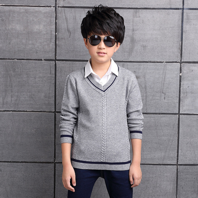 2017 Children's sweater Winter new  Keep warm Cashmere boy sweater V-collar Kids for boys Children's clothing Winter clothing