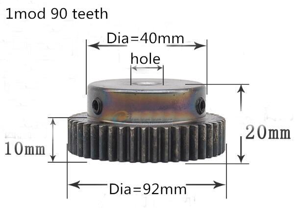 1pc Spur Gear pinion 90T 1 mod gear rack 90teeth bore 8mm 10mm spur gear precision 45 steel cnc rack and pinion original dhk hobby 43t plastic spur gear 1pc