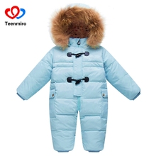 Chilly Winter Costumes Child Garments New child Heat Rompers Enfant Outwear Snowsuit Fur Collar Duck Down Waterproof Jumpsuit Boy Lady