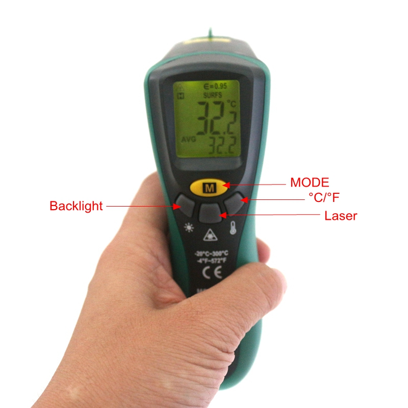 Auto MasTech MS6522A Non-contact Infrared Thermometer Temperature Meter -20~300C Pyrometer Laser Yellow LCD Backight Handheld mastech infrared thermometer 20c 300c non contact auto range lcd digital display laser handheld temperature meter