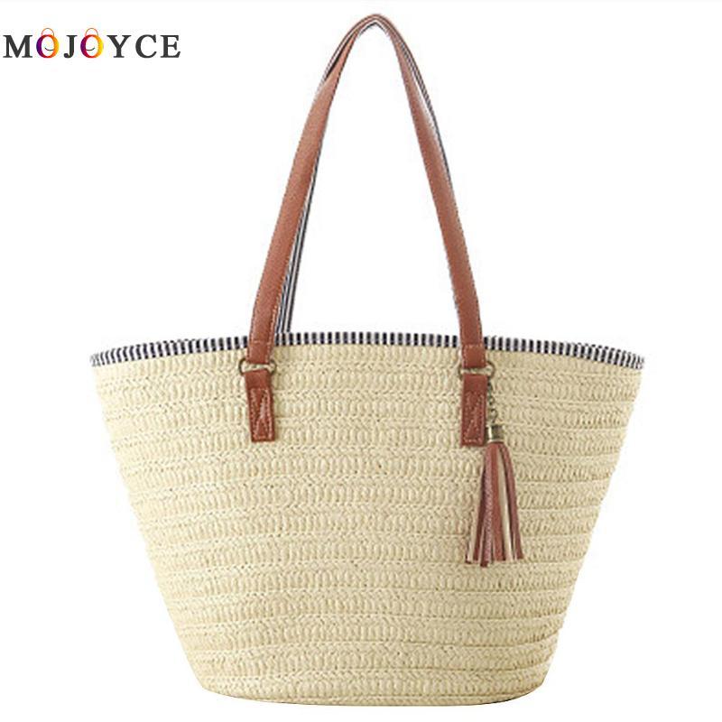 Simple Women Straw Weave Shoulder Bag Tassels Summer Style Beach Bag Holiday Zipper Tote Brand Designer Handbags все цены
