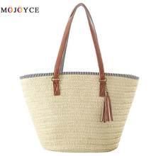6f689777d Mulheres simples bolsa de Palha Bolsa de Ombro Tecer Borlas Estilo Saco de  Praia Férias de