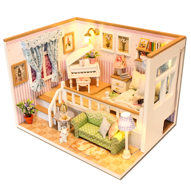 CUTEBEE Doll House Miniature DIY Dollhouse With Furnitures Wooden House Stars Sky Toys For Children Birthday Gift  M026