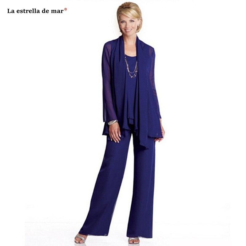 Mother Of The Bride Dresses Pants Suit2019 New Chiffon 2 Pieces Royal Blue Long Sleeve Vestidos Mama De La Novia