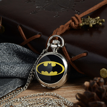 Relogio Retro Bronze Quartz Pocket Watch steampunk Clock Watches with Batman Black Necklace Pendant watches Mens Womens Gifts