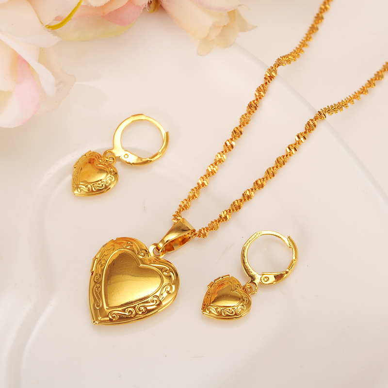 Heart Allah Earrings pendant Necklace Set Gold Color Wedding bridal muslim Jewelry Sets For Women Gift diy charms