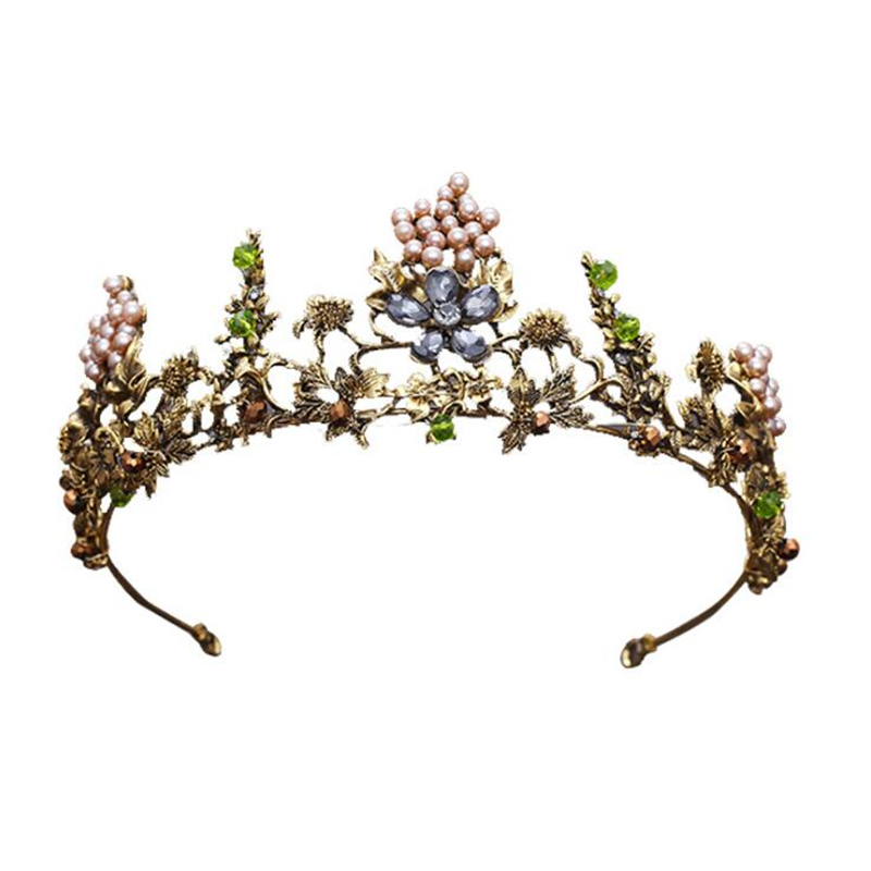 OMYLAISGE Vintage Gold Crystal Flowers Beads Rhinestone