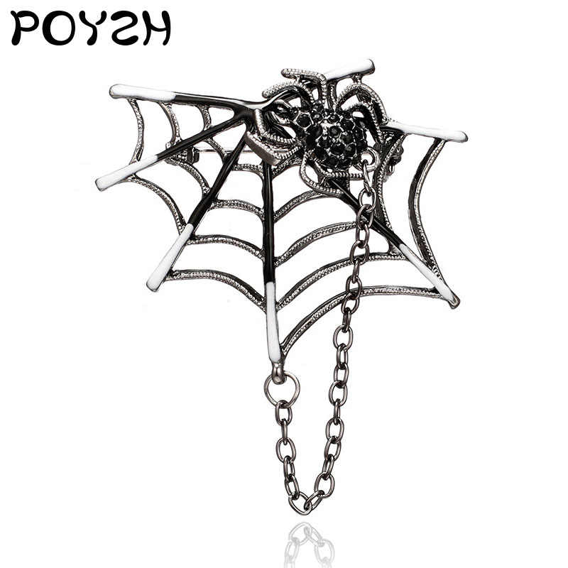 Small Spider Brooch Chain Enamel Lapel Pin Silver metal spider web chain needle Decorative jewelry for suit jacket men and women