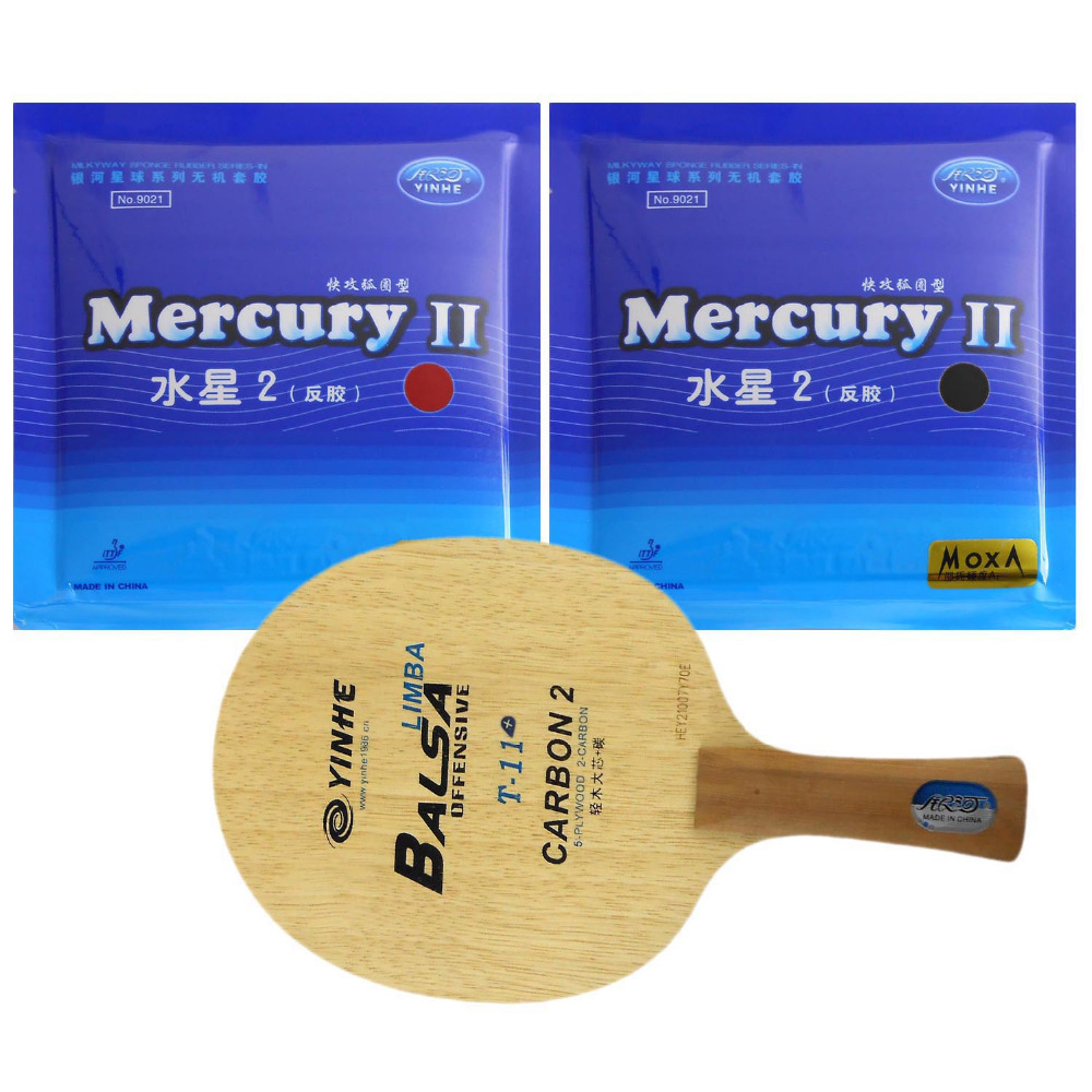 Pro Table Tennis Ping Pong Combo Paddle Racket  Yinhe T-11+ + 2 Pcs Mercury II Shakehand long handle FL galaxy yinhe venus 15 table tennis blade with 2x mercury ii rubber with sponge for a ping pong racket long shakehand fl