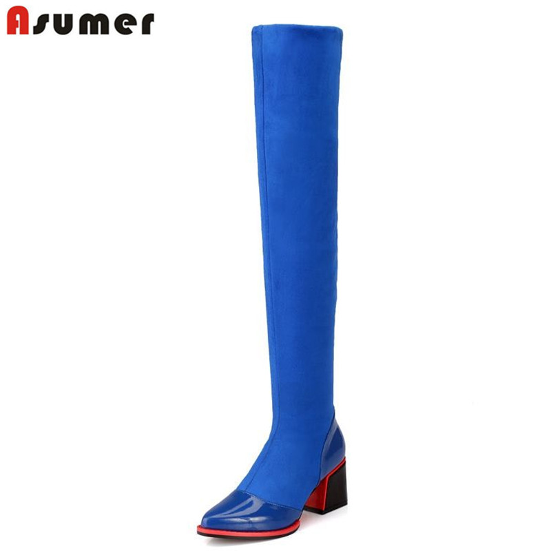 цена ASUMER Plus size 34-43 women boots square heels suede over the knee boots pointed toe autumn flock + genuine leather boots в интернет-магазинах