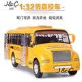 1:32 Американский школьный автобус Сплава Металла Литья Под Давлением Игрушечных Автомобилей Модели Маленького Масштаба Модель Звук и Свет Эмуляции Электрический Автомобиль