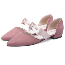 2019 Spring Style Flock Pointed Toe Bowknot Pink Beige Women Flats Dress Work Shoes 11811ABX2056