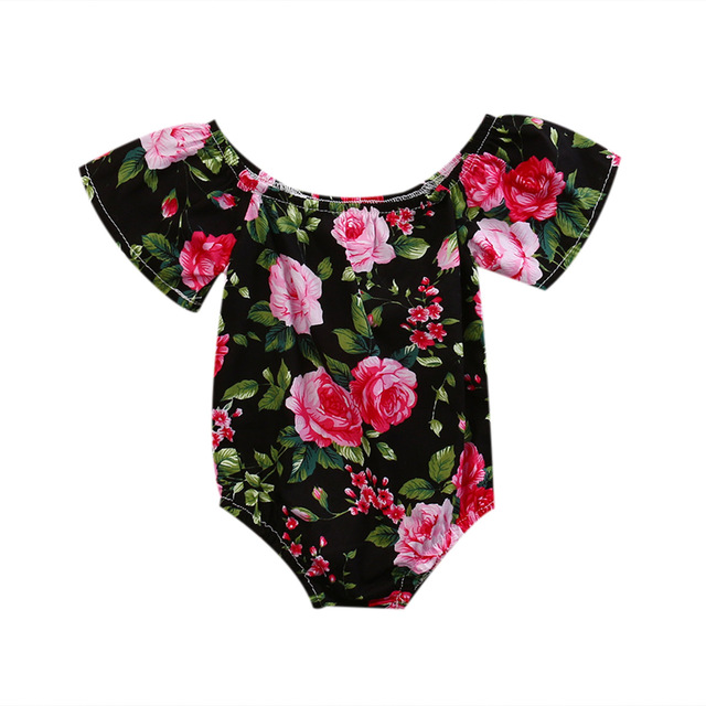 a2c7a58cb0 Sweety Baby 2017 Black Flower Off Shoulder Newborn Infant Baby Girl Romper  Jumpsuit Outfits Summer Clothes 0-24M