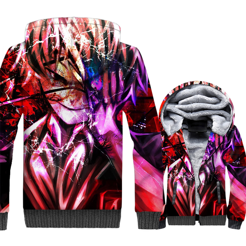 Japan Anime Tokyo Ghoul Kaneki Ken Men 3D Hoodies 2019 Autumn Winter Thick Fleece Warm Jackets Harajuku Sweatshirts For Fans in Hoodies amp Sweatshirts from Men 39 s Clothing